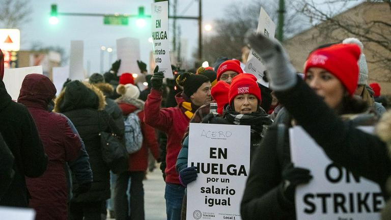 Educators with Acero charter schools strike outside Veterans Memorial Charter School Campus on Tuesday, Dec. 4, 2018. (Tyler LaRiviere / Chicago Sun-Times via AP)