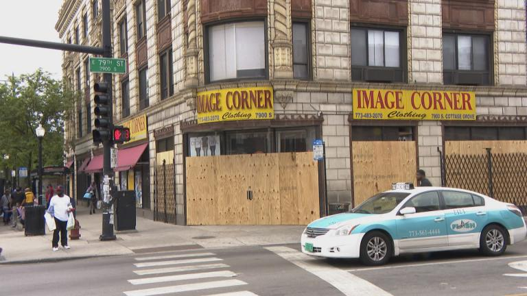 A business is boarded up in Chicago's Chatham neighborhood on the city's South Side on Wednesday, June 3, 2020, following unrest over the killing of George Floyd. (WTTW News)