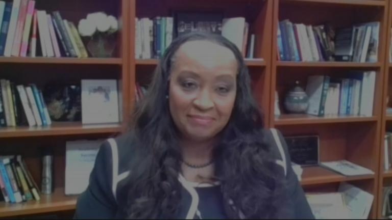 "Governors State University President Cheryl Green appears on ""Chicago Tonight: Black Voices"" via Zoom. (WTTW News)"