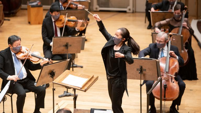 """Erina Yashima, former CSO Solti Conducting Apprentice, joins the CSO for the opening performance of the program entitled """"Strum,"""" June 3, 2021. (Credit Anne Ryan)"""