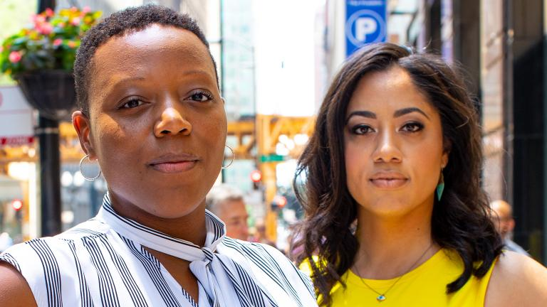 Nneka Jones Tapia, left, and Liz Dozier (Roger Morales / Chicago Beyond)