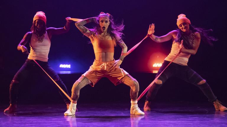 "From left: Porscha Spells, KC Bevis and Kelsey Reiter in the Chicago Dance Crash world premiere production of ""Lil Pine Nut: The Learning Curve of Pinocchio."" (Photo by Ashley Deran)"