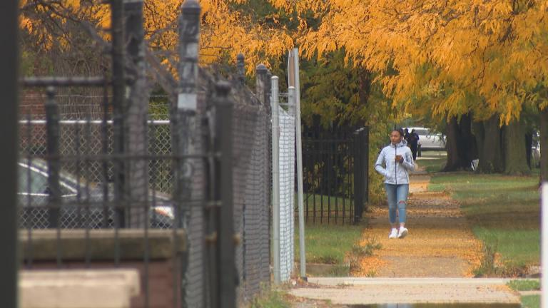 A pedestrian walks along a tree-lined street in Chicago on Oct. 12, 2020. As fall arrives, the state is entering its ninth month of a pandemic that has infected nearly 325,000 Illinois residents. (WTTW News)