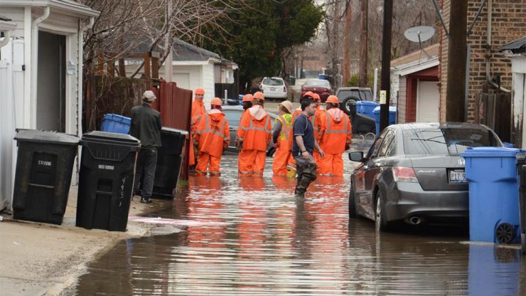 Flooding in Chicago's Albany Park neighborhood on April 18, 2013. (Center for Neighborhood Technology / Flickr)