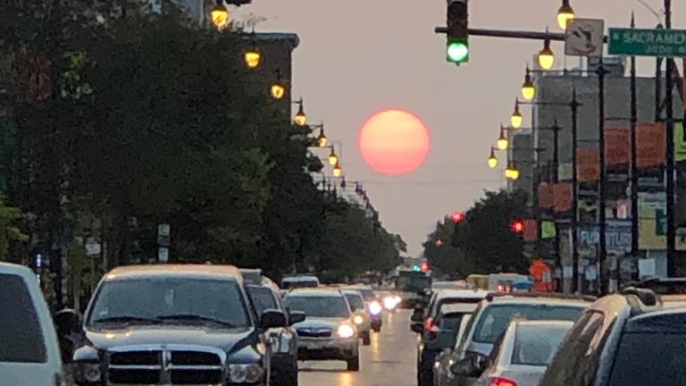 """Chicagohenge"" during the fall 2020 equinox. (Patty Wetli / WTTW News)"