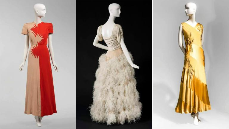 From left: Evening dress designs by Howard Greer; Jacques, Chicago; and Jenkins. (Courtesy Chicago History Museum)