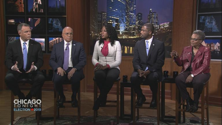 "Chicago mayoral candidates Garry McCarthy, Gery Chico, Amara Enyia, La Shawn Ford and Lori Lightfoot appear on ""Chicago Tonight"" Tuesday, Feb. 19, 2019."