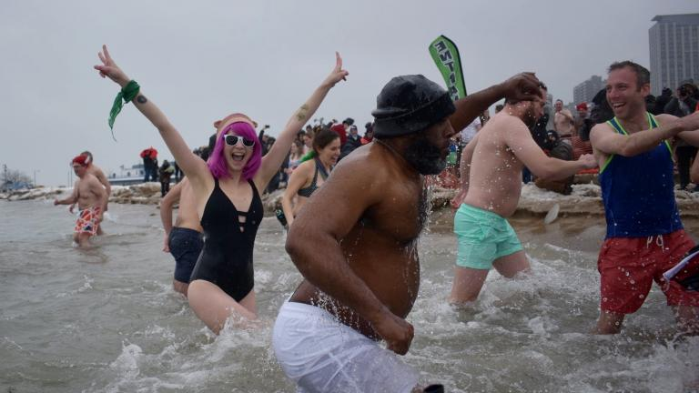 "A scene from the 2020 Chicago Polar Bear Club's plunge into Lake Michigan. This year's ""plunge where you are"" will look different. (Courtesy of Chicago Polar Bear Club)"