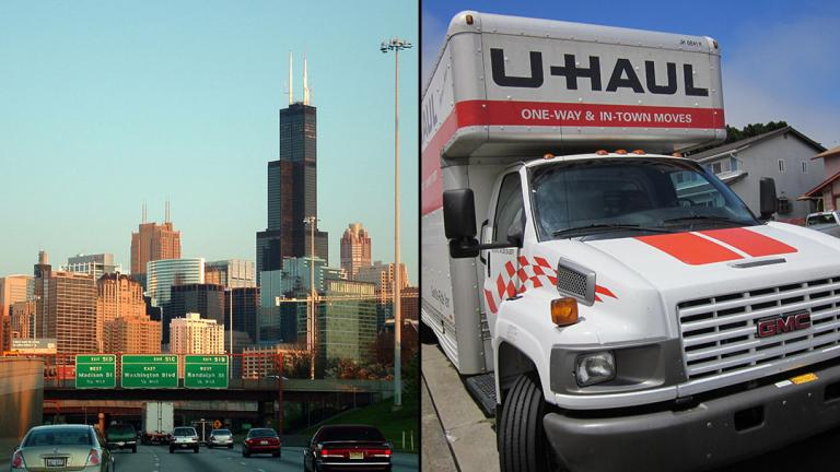 Chicago and Illinois lost residents faster than any other state or major U.S. city in the last few years. But some are returning. (From left: Araceli Arroyo / Flickr; © BrokenSphere / Wikimedia Commons)