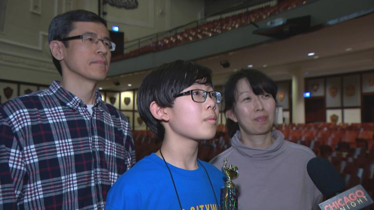 Aaron Chang, 13, of Audubon Elementary won the 2019 CPS spelling bee on March 14, 2019.