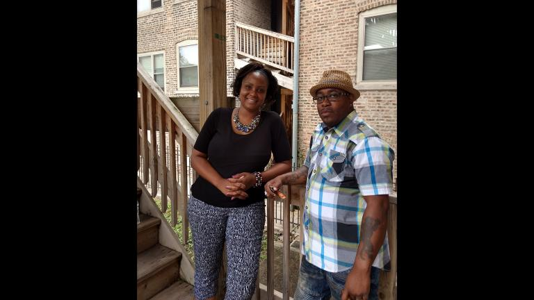 Chicago Survivors social worker JaShawn Hill with client Tyrone Blake.