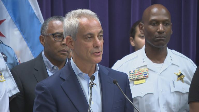 Mayor Rahm Emanuel addresses safety in Chicago on Aug. 8, 2018 following a deadly weekend of violence. (Chicago Tonight)