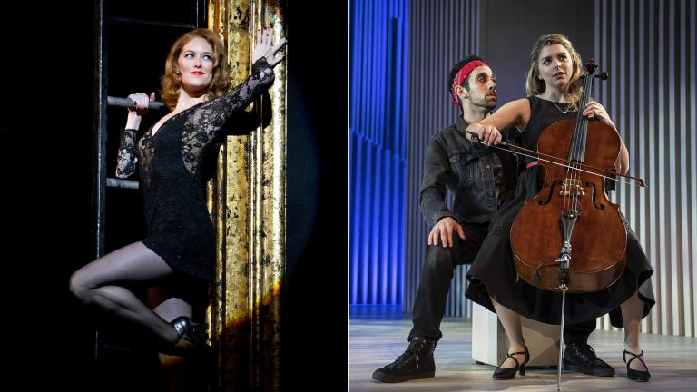 """Dylis Croman in """"Chicago, The Musical,"""" left, and George Abud and Sydney Shepherd in """"August Rush: The Musical."""" (Credit: Jeremy Daniel, left, Liz Lauren)"""
