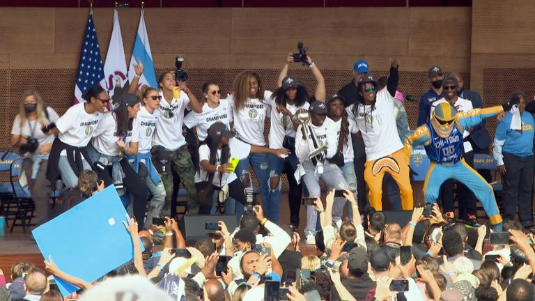 The Chicago Sky celebrate their championship win in Millenium Park. (Courtesy WNBA)