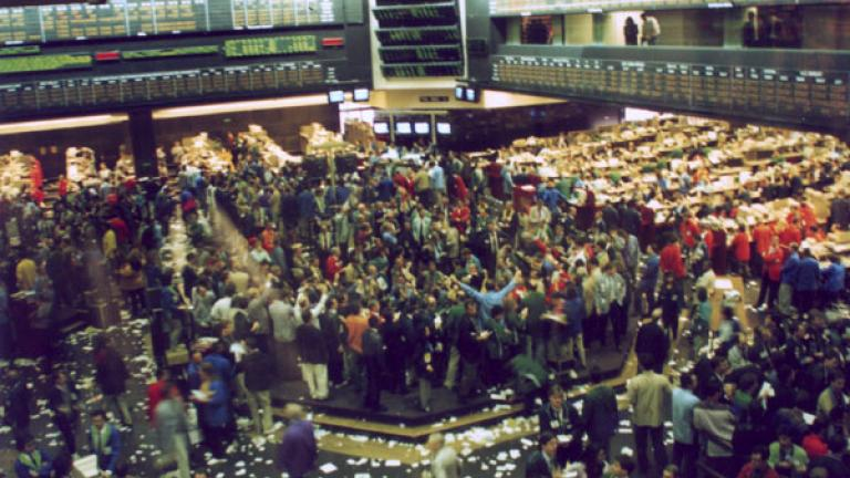 Trading floor at the Chicago Board of Trade in 1993.