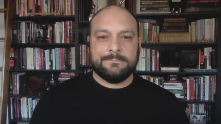 """Christian Picciolini appears on """"Chicago Tonight"""" via Zoom on Tuesday, July 7, 2020. (WTTW News)"""