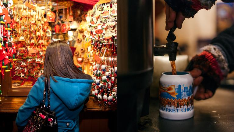 Holiday ornaments, right, and glühwein: a recipe for shopping success. (Glühwein photo by Kameron Sears)