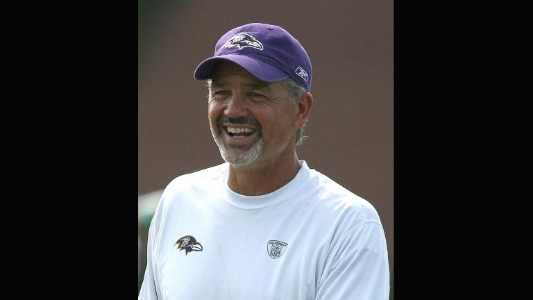 Chuck Pagano at the Baltimore Ravens training camp on Aug. 20, 2009. (Keith Allison via Wikimedia Commons)