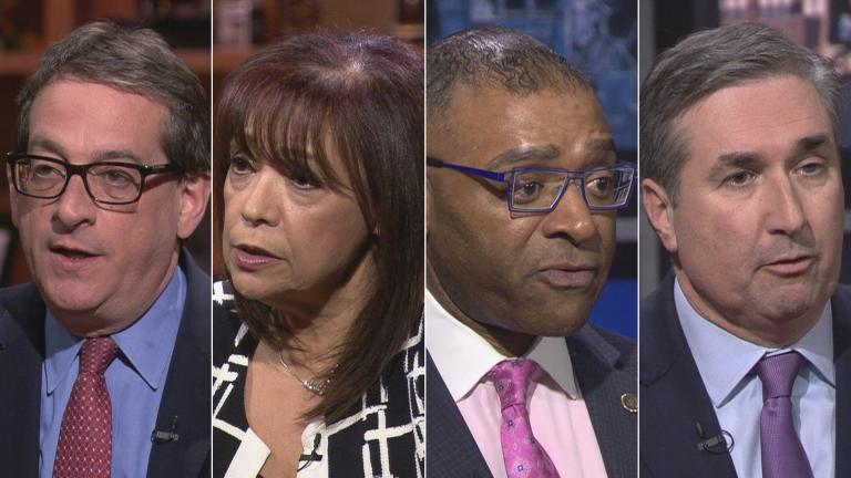 "Democratic candidates for Cook County Circuit Court Clerk, from left: Jacob Meister, Iris Martinez, Richard Boykin and Michael Cabonargi appear on a ""Chicago Tonight"" candidate forum. (WTTW News)"
