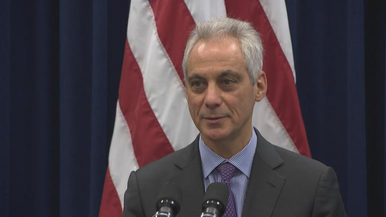Mayor Rahm Emanuel speaks to the press following City Council's approval of two controversial developments on Wednesday, March 13, 2019. (Chicago Tonight)