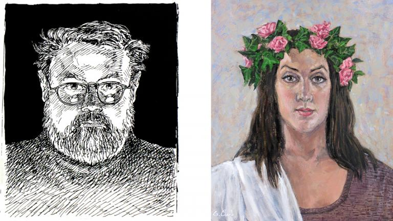 "Works by George C. Clark: ""Self Portrait,"" left, and ""Vilja."" (Courtesy of George C. Clark)"
