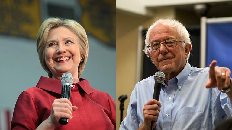 Hillary Clinton and Bernie Sanders (Credit, from left: Gage Skidmore, Phil Roeder / Flickr)