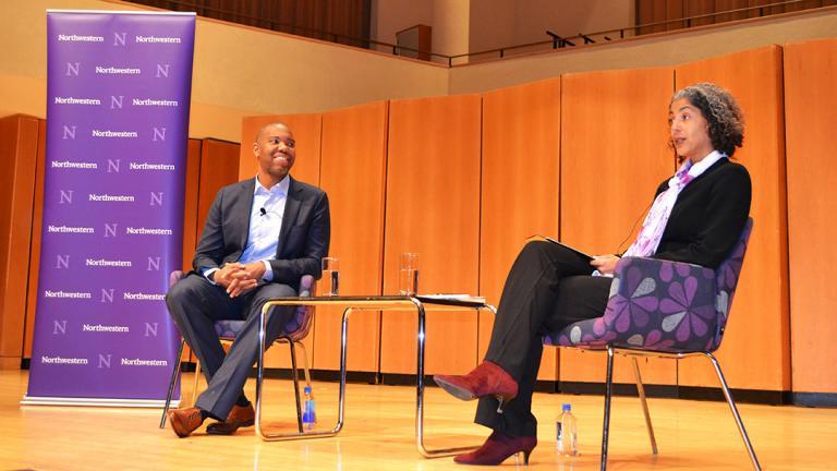 Ta-Nehisi Coates discusses politics, race, journalism and identity at Northwestern University on Jan. 31. (Maya Miller / Chicago Tonight)