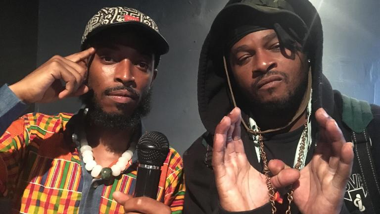 """From left: Chicago rappers The Boy Illinois and Phenom star in """"Tearz,"""" adapted from Wu Tang Clan's hit single off their 1993 debut album """"36 Chambers,"""" premiering as part of Collaboraction's """"Peacebook"""" Austin line-up. (Credit: Joel Maisonet)"""