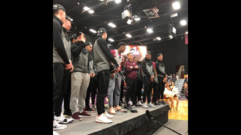 Loyola Ramblers players and fans attend a rally at Gentile Arena on Sunday, March 25, 2018. (Virginia Barreda / Chicago Tonight)