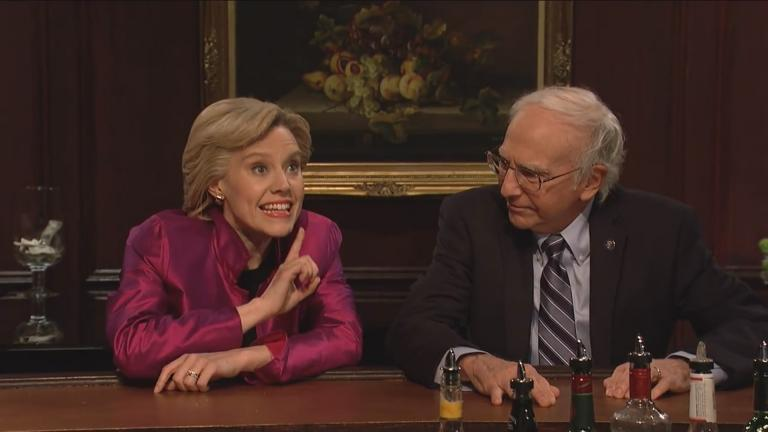 "Kate McKinnon and Larry David portray Democratic candidates Hillary Clinton and Bernie Sanders in a ""Saturday Night Live"" sketch that aired in May 2016. (Courtesy NBC)"