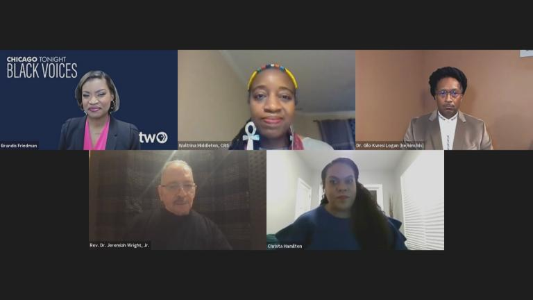 "A screenshot from the ""Black Voices"" community conversation on Monday, Dec. 28, 2020. (WTTW News)"