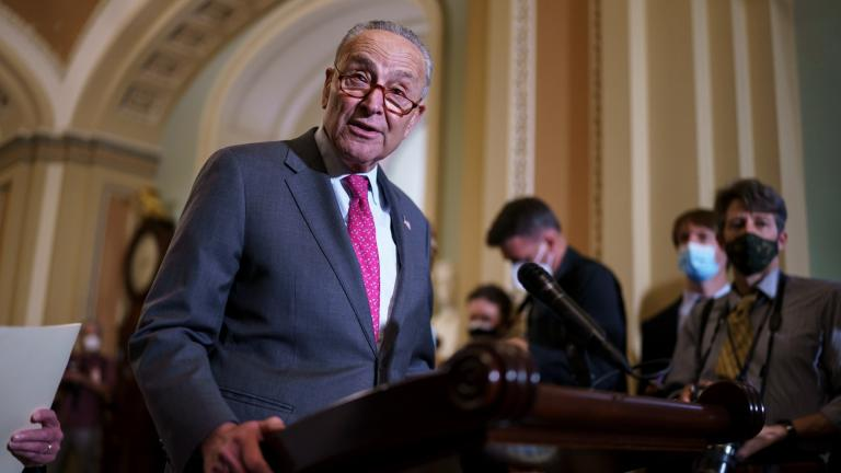 In this Aug. 3, 2021 photo, Senate Majority Leader Chuck Schumer, D-N.Y., speaks to reporters at the Capitol in Washington. (AP Photo / J. Scott Applewhite)