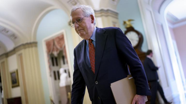 Senate Minority Leader Mitch McConnell, R-Ky., walks to the chamber for a test vote on a government spending bill, at the Capitol in Washington, Monday, Sept. 27, 2021. (AP Photo / J. Scott Applewhite)