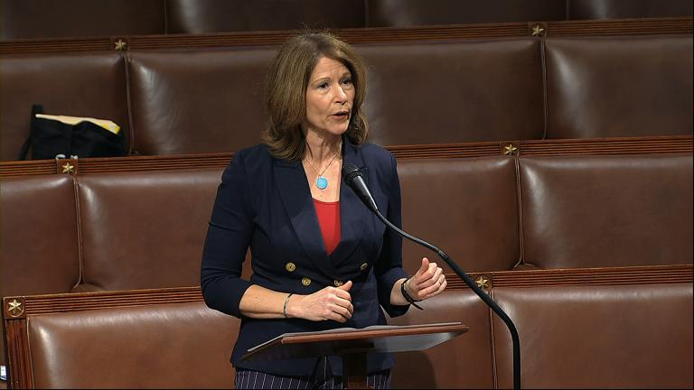 In this April 23, 2020, file image from video, Rep. Cheri Bustos, D-Ill., speaks on the floor of the House of Representatives at the U.S. Capitol in Washington. (House Television via AP, File)