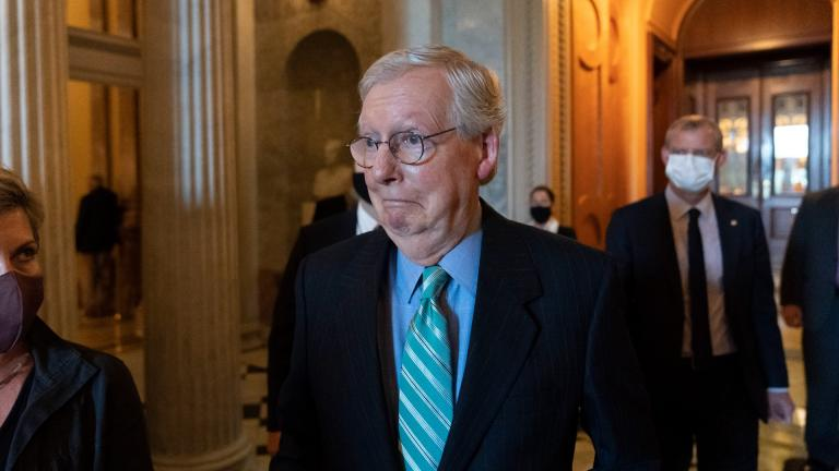 Senate Minority Leader Mitch McConnell of Ky., walks to a policy luncheon on Capitol Hill, Thursday, Oct. 7, 2021, in Washington. (AP Photo / Alex Brandon)