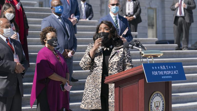 Rep. Terri Sewell, D-Ala., recalls the work of the late Rep. John Lewis as Democrats gather to address reporters on H.R. 1, the For the People Act of 2021, at the Capitol in Washington, Wednesday, March 3, 2021. (AP Photo/J. Scott Applewhite)