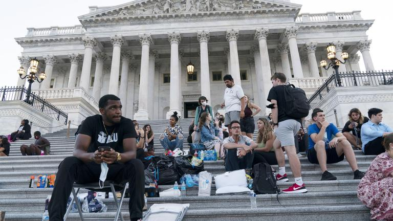 Supporters of Rep. Cori Bush, D-Mo., camp with her outside the U.S. Capitol, in Washington, Monday, Aug. 2, 2021, as anger and frustration has mounted in Congress after a nationwide eviction moratorium expired at midnight Saturday. (AP Photo / Jose Luis Magana)