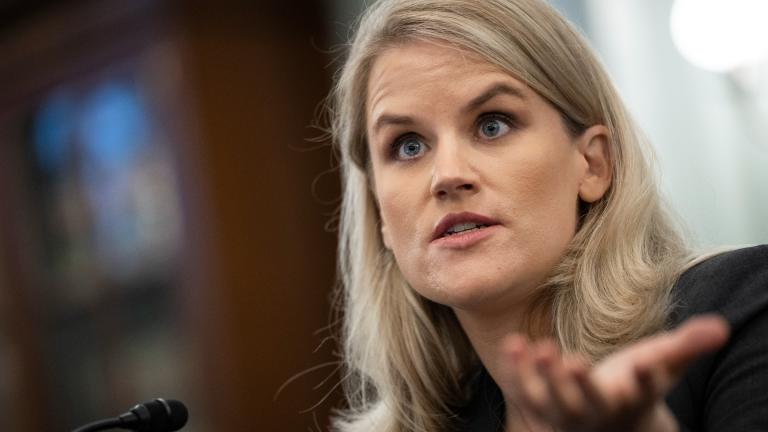 Former Facebook employee and whistleblower Frances Haugen testifies during a Senate Committee on Commerce, Science, and Transportation hearing on Capitol Hill on Tuesday, Oct. 5, 2021, in Washington. (Drew Angerer / Pool via AP)