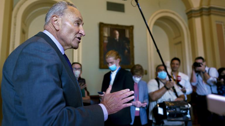 Senate Majority Leader Chuck Schumer, D-N.Y., updates reporters on the infrastructure negotiations between Republicans and Democrats, at the Capitol in Washington, Wednesday, July 28, 2021. (AP Photo / J. Scott Applewhite)