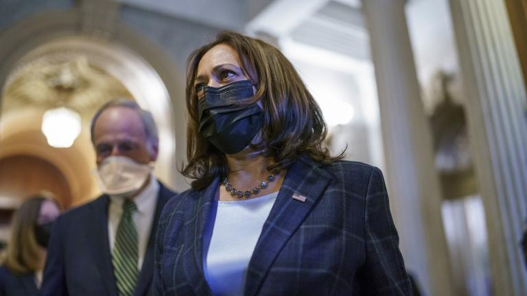 Vice President Kamala Harris departs the Capitol after the Senate voted to advance the $1 trillion bipartisan infrastructure bill, at the Capitol in Washington, Saturday, Aug. 7, 2021. (AP Photo / J. Scott Applewhite)