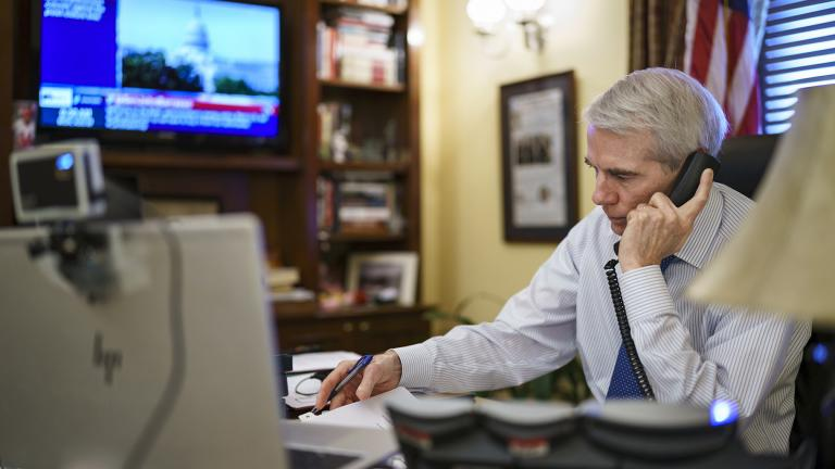 Sen. Rob Portman, R-Ohio, the top Republican negotiator on the bipartisan infrastructure bill, works from his office on Capitol Hill as he continues to shepherd the $1 trillion legislation closer to passage, in Washington, Monday, Aug. 9, 2021. (AP Photo / J. Scott Applewhite)