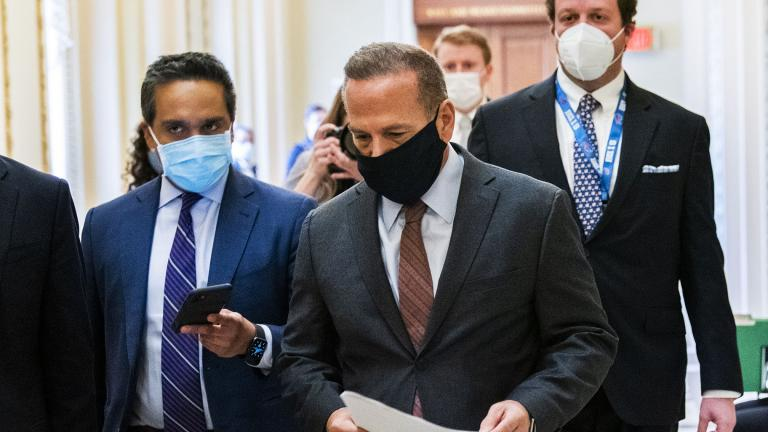 Rep. David Cicilline, D-R.I., is followed by reporters as he walks outside the House Chamber at the Capitol, Monday, Jan. 11, 2021, in Washington. (AP Photo / Manuel Balce Ceneta)