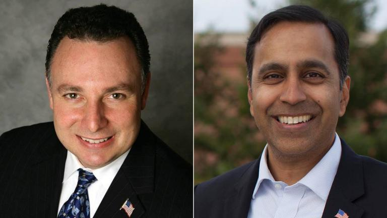 Candidates Peter 'Pete' DiCianni, left, and Raja Krishnamoorthi.