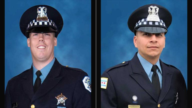 Chicago police Officers Conrad Gary, left, and Eduardo Marmolejo (Courtesy of the Chicago Police Department)