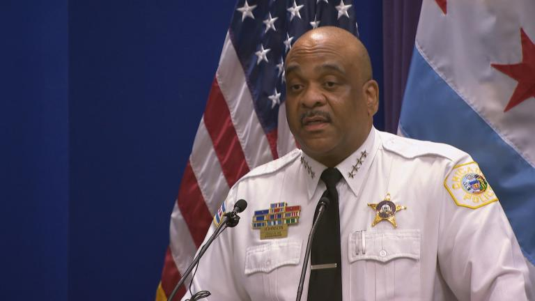 Chicago Police Superintendent Eddie Johnson talks Thursday, Sept. 6, 2018 about a new agreement for tracking gun-pointing instances in the police department. (Chicago Tonight)