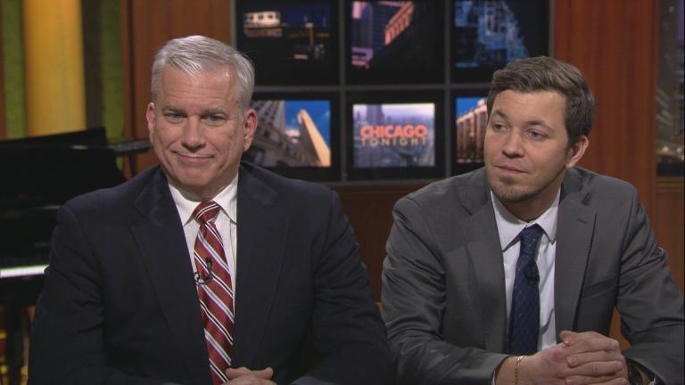 "Newly elected Democrats Scott Britton, left, and Kevin B. Morrison appear on ""Chicago Tonight."""