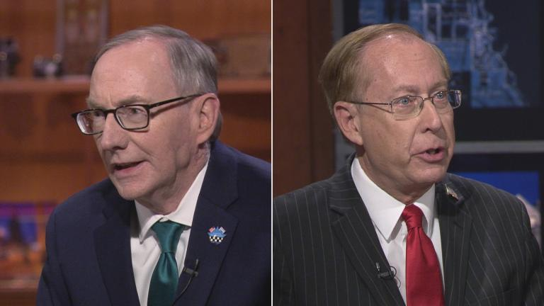 "Republican candidates for Cook County state's attorney Patrick O'Brien, left, and Christopher Pfannkuche appear on a ""Chicago Tonight"" candidate forum. (WTTW News)"