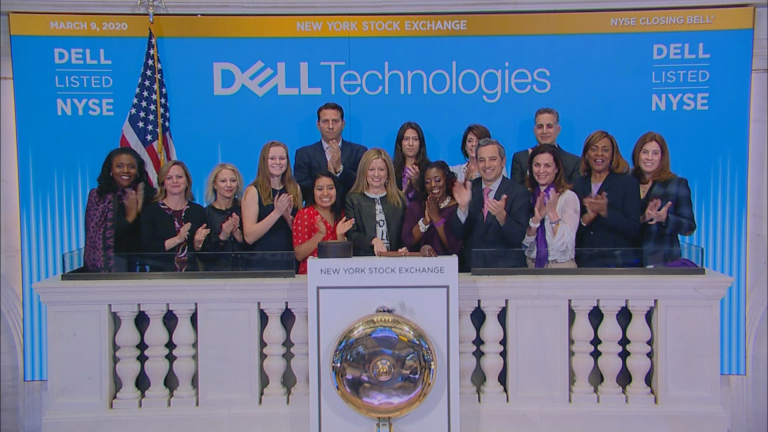The closing bell of the New York Stock Exchange on Monday, March 9, 2020. (WTTW News via CNN)