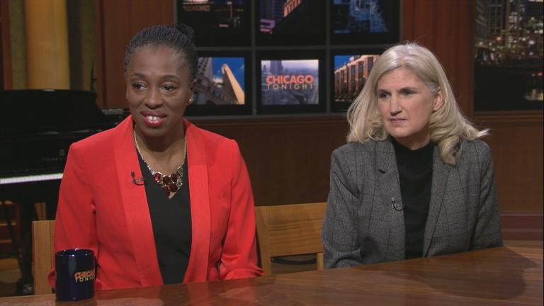 "Dr. Ngozi Ezike, left, and Karla Satchell appear on ""Chicago Tonight"" on Monday, Jan. 27, 2020. (WTTW News)"
