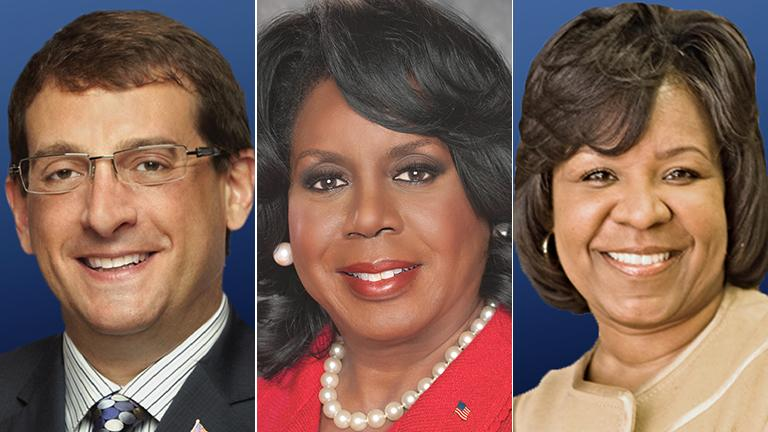 Democratic candidates for Cook County Circuit Court Clerk pictured in ballot order, from left: Jacob Meister. Dorothy Brown, Michelle Harris.